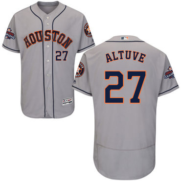 Astros #27 Jose Altuve Grey Flexbase Authentic Collection 2017 World Series Champions Stitched MLB Jersey