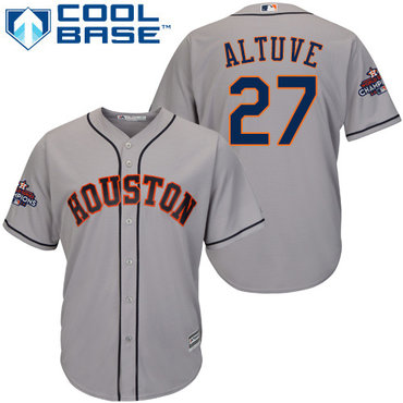 Astros #27 Jose Altuve Grey New Cool Base 2017 World Series Champions Stitched MLB Jersey