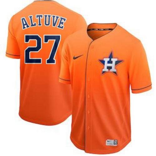 Astros #27 Jose Altuve Orange Fade Authentic Stitched Baseball Jersey