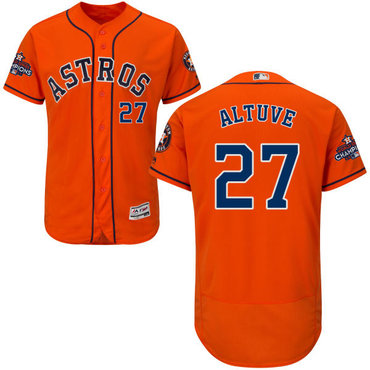 Astros #27 Jose Altuve Orange Flexbase Authentic Collection 2017 World Series Champions Stitched MLB Jersey