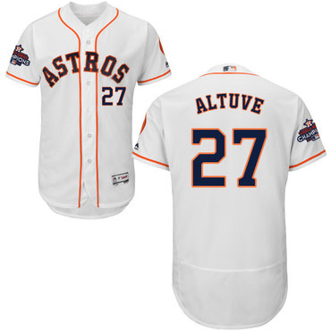 Astros #27 Jose Altuve White Flexbase Authentic Collection 2017 World Series Champions Stitched MLB Jersey
