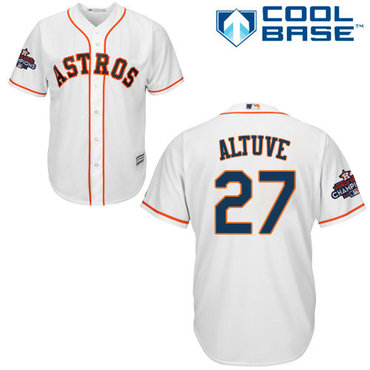 Astros #27 Jose Altuve White New Cool Base 2017 World Series Champions Stitched MLB Jersey