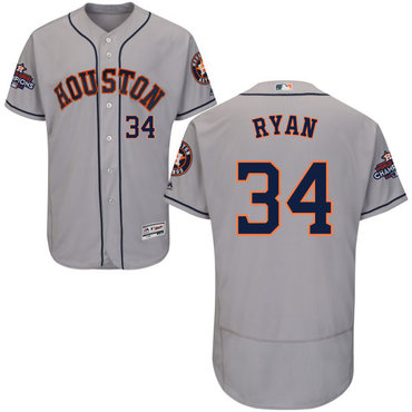 Astros #34 Nolan Ryan Grey Flexbase Authentic Collection 2017 World Series Champions Stitched MLB Jersey
