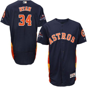 Astros #34 Nolan Ryan Navy Blue Flexbase Authentic Collection 2017 World Series Champions Stitched MLB Jersey