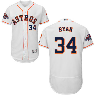 Astros #34 Nolan Ryan White Flexbase Authentic Collection 2017 World Series Champions Stitched MLB Jersey