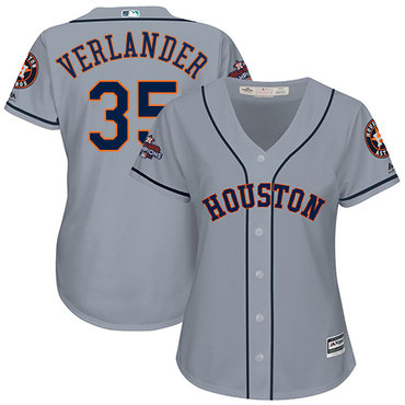 Astros #35 Justin Verlander Grey Road 2017 World Series Champions Women's Stitched MLB Jersey