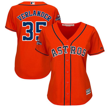 Astros #35 Justin Verlander Orange Alternate 2017 World Series Champions Women's Stitched MLB Jersey