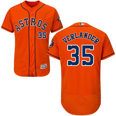 Astros #35 Justin Verlander Orange Flexbase Authentic Collection Stitched MLB Jersey