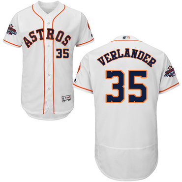 Astros #35 Justin Verlander White Flexbase Authentic Collection 2017 World Series Champions Stitched MLB Jersey