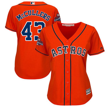 Astros #43 Lance McCullers Orange Alternate 2017 World Series Champions Women's Stitched MLB Jersey