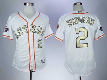 Astros 2 Alex Bregman White 2018 Gold Program Flexbase Jersey