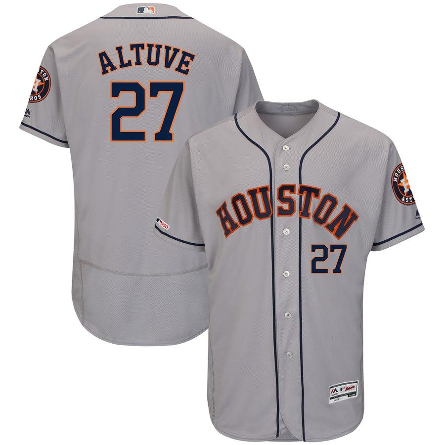 Astros 27 Jose Altuve Gray 150th Patch Flexbase Jersey