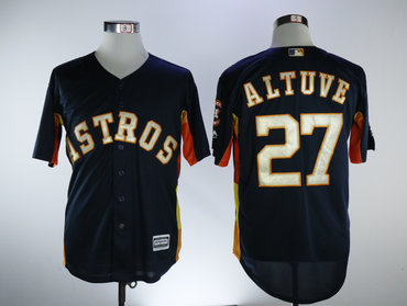 Astros 27 Jose Altuve Navy 2018 Gold Program Cool Base Jersey
