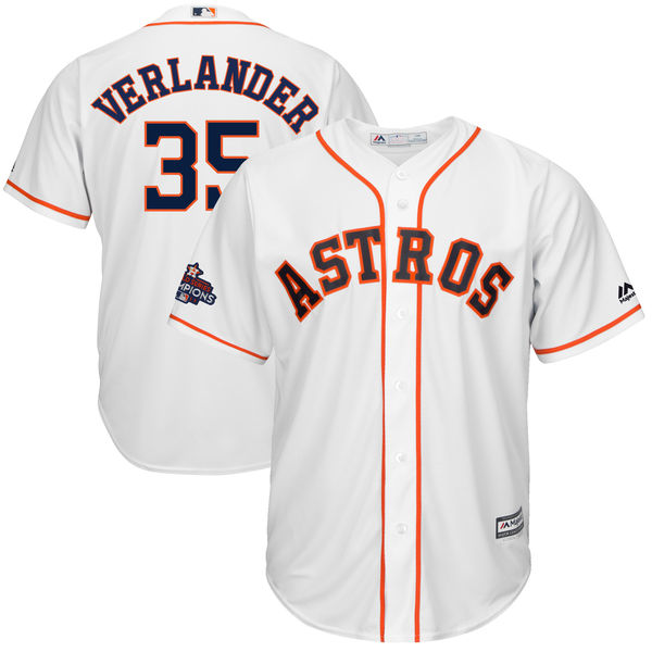 Astros 35 Justin Verlander White 2017 World Series Champions Cool Base Player Jersey
