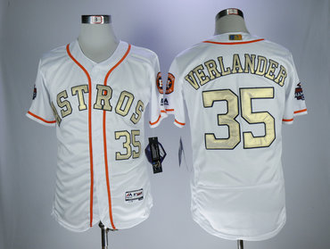 Astros 35 Justin Verlander White 2018 Gold Program Flexbase Jersey