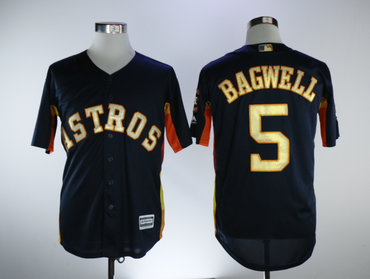 Astros 5 Jeff Bagwell Navy 2018 Gold Program Cool Base Jersey