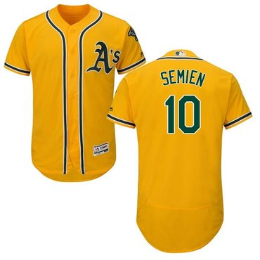 Athletics #10 Marcus Semien Gold Flexbase Authentic Collection Stitched Baseball Jersey