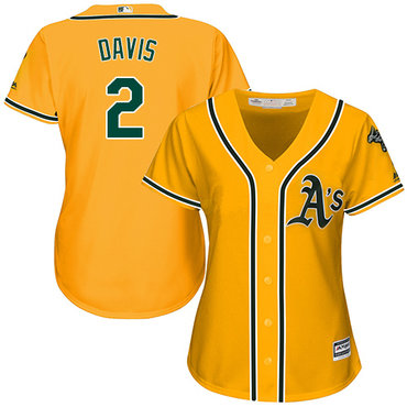 Athletics #2 Khris Davis Gold Alternate Women's Stitched Baseball Jersey