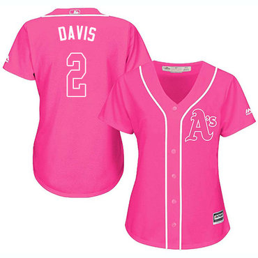 Athletics #2 Khris Davis Pink Fashion Women's Stitched Baseball Jersey