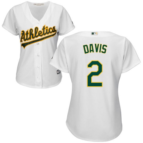 Athletics #2 Khris Davis White Home Women's Stitched Baseball Jersey