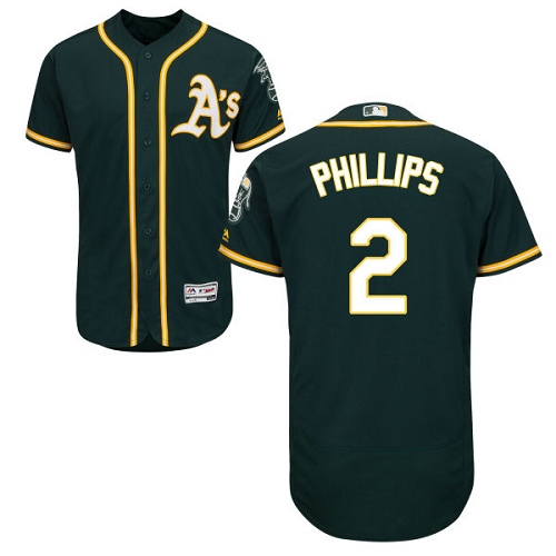 Athletics #2 Tony Phillips Green Flexbase Authentic Collection Stitched MLB Jersey