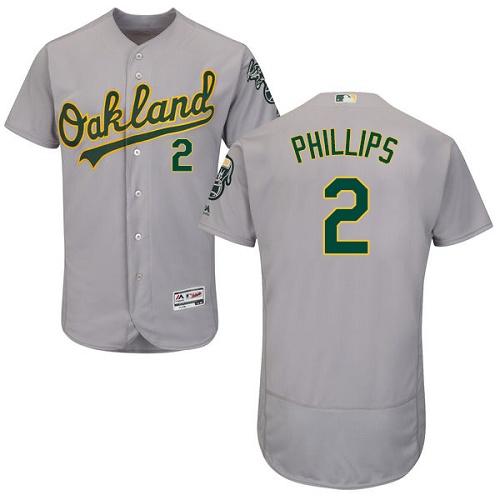Athletics #2 Tony Phillips Grey Flexbase Authentic Collection Stitched MLB Jersey