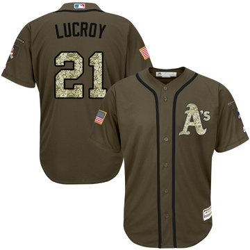 Athletics #21 Jonathan Lucroy Green Salute to Service Stitched Baseball Jersey