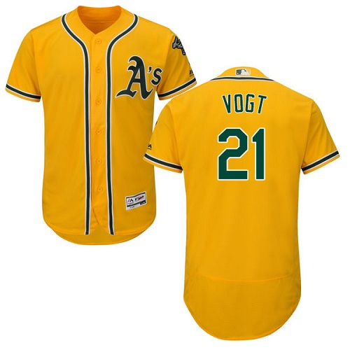 Athletics #21 Stephen Vogt Gold Flexbase Authentic Collection Stitched MLB Jersey