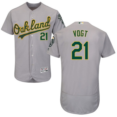 Athletics #21 Stephen Vogt Grey Flexbase Authentic Collection Stitched MLB Jersey