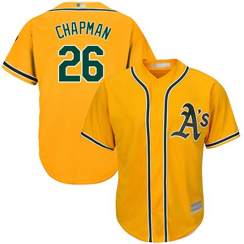 Athletics #26 Matt Chapman Gold Cool Base Stitched Youth Baseball Jersey