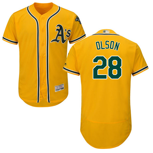Athletics #28 Matt Olson Gold Flexbase Authentic Collection Stitched Baseball Jersey