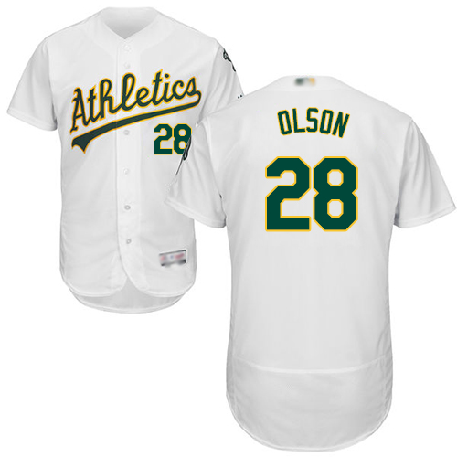 Athletics #28 Matt Olson White Flexbase Authentic Collection Stitched Baseball Jersey