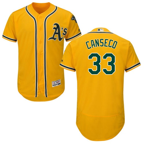 Athletics #33 Jose Canseco Gold Flexbase Authentic Collection Stitched MLB Jersey