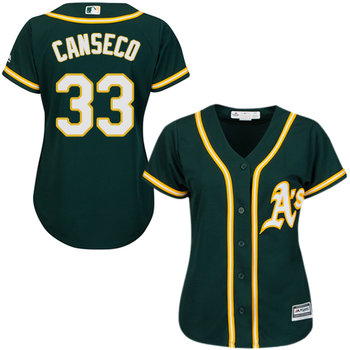Athletics #33 Jose Canseco Green Alternate Women's Stitched MLB Jersey