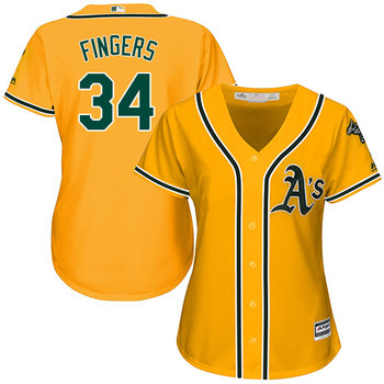 Athletics #34 Rollie Fingers Gold Alternate Women's Stitched MLB Jersey