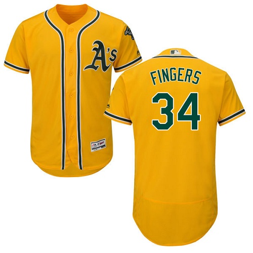 Athletics #34 Rollie Fingers Gold Flexbase Authentic Collection Stitched MLB Jersey
