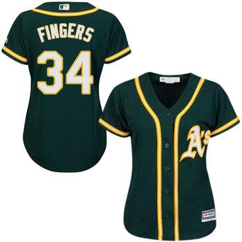 Athletics #34 Rollie Fingers Green Alternate Women's Stitched MLB Jersey