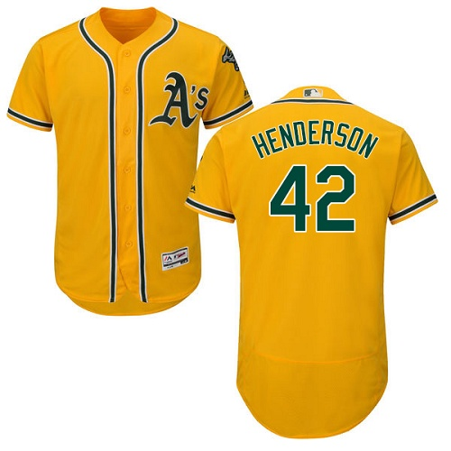 Athletics #42 Dave Henderson Gold Flexbase Authentic Collection Stitched MLB Jersey