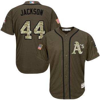 Athletics #44 Reggie Jackson Green Salute to Service Stitched MLB Jersey
