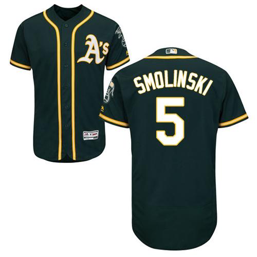Athletics #5 Jake Smolinski Green Flexbase Authentic Collection Stitched Baseball Jersey