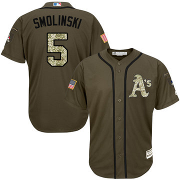 Athletics #5 Jake Smolinski Green Salute to Service Stitched Baseball Jersey