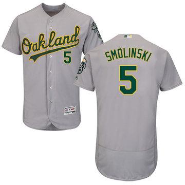 Athletics #5 Jake Smolinski Grey Flexbase Authentic Collection Stitched Baseball Jersey