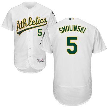 Athletics #5 Jake Smolinski White Flexbase Authentic Collection Stitched Baseball Jersey