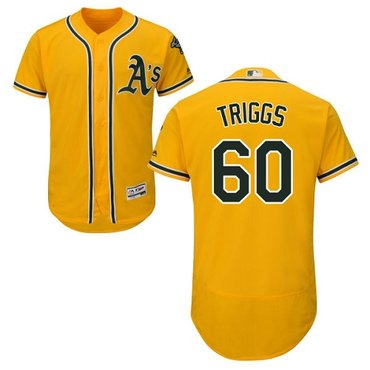 Athletics #60 Andrew Triggs Gold Flexbase Authentic Collection Stitched Baseball Jersey