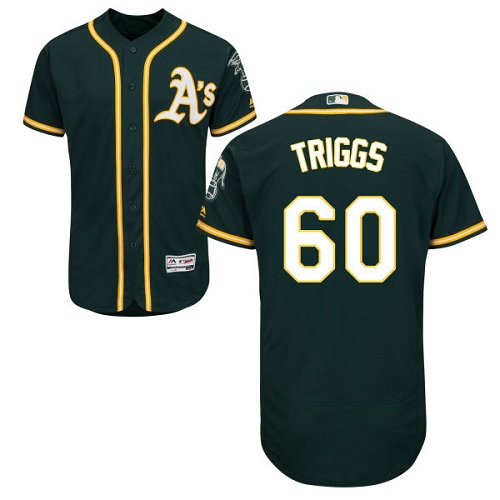 Athletics #60 Andrew Triggs Green Flexbase Authentic Collection Stitched Baseball Jersey