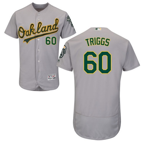 Athletics #60 Andrew Triggs Grey Flexbase Authentic Collection Stitched Baseball Jersey