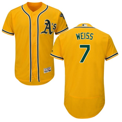Athletics #7 Walt Weiss Gold Flexbase Authentic Collection Stitched MLB Jersey