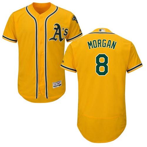 Athletics #8 Joe Morgan Gold Flexbase Authentic Collection Stitched MLB Jersey