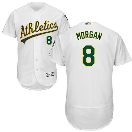 Athletics #8 Joe Morgan White Flexbase Authentic Collection Stitched MLB Jersey