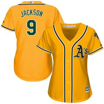 Athletics #9 Reggie Jackson Gold Alternate Women's Stitched MLB Jersey